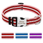 Reflective Nylon Small Large Dog Collar Personalized Pet Name ID Red Blue Purple