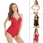 Halter Monokini for Women, Bandage One-Piece Push-Up Swimwear Swimming Costume
