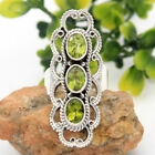 Royal Bali Style Peridot Solid 925 Sterling Silver Artistic Ring Size 6 to 10 us