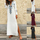 Women's Long Sleeve High Split Maxi Dress Floral Print V Neck Shirt Dress Kaftan