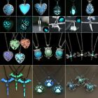 Women Luminous Glow In The Dark Hollow Heart Owl Animal Pendant Necklace Jewelry image
