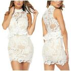 White Crochet Ruffle Cocktail Mini Dress Sleeveless Sexy Womens S M L