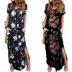 ZANZEA Women's Short Sleeve High Split Long Shirt Dress Vintage Print Sundress