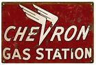 VINTAGE ANTIQUE Style Metal Sign Chevron Gas Station 18x30
