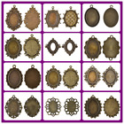 5Pcs Vintage Bronze Jewelry Finding Charm Pendants Cameo Cabochon Setting Base