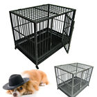"""42"""" 2 Door Dog Fold Metal Pet Cage Crate Kennel w/ Tray Pan 2 Colors"""