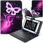 """US For 7"""" 10"""" 10.1"""" Tablets Purple Butterfly PU Leather Case USB Keyboard Cover"""
