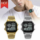SKMEI Men Luxury Waterproof Alarm Stainless Steel Digital Square Wrist Watch USA image