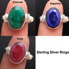 Green Emerald Sapphire Ruby 925 Sterling Silver Jewelry Unisex Ring All Size