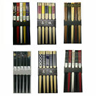 5 Pair Chinese Japanese Sushi Reusable Wooden Chopsticks Multi Pattern