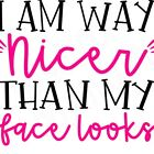I am way nicer than my face looks  water slide decal ready to use  image