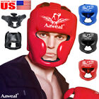 Aaweal Boxing Leather Headgear Face Head Guard Protector Helmet MMA Kids Adult
