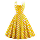 Women's Vintage Halter Style 1950s Rockabilly Evening Cocktail Party Swing Dress