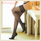 Sexy Womens Ultra-thin Shiny Sheer Lace Top Thigh High Silk Stockings Hold Ups