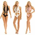 Women's One Piece Backless Sheer Shiny Swimwear Swimsuit Bathing Suit Beachwear