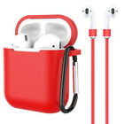 3-in-1 Premium  AirPods Silicone Case Cover Skin Strap KeyChain for Apple AirPod
