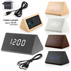 Wood Cube LED Alarm Digital Desk Clock Wooden Style Room Snooze USB Cable Modern