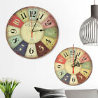 Large Wall Clock Colorful Round Retro Vintage Rustic Wooden Home Decor  5 12