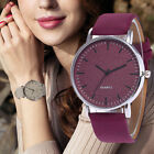 Fashion Leather Ladies Women Girl Unisex Stainless Steel Quartz Wrist Watch NEW image