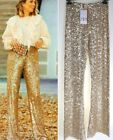 ZARA HIGH WAISTED GOLD SEQUINNED FLARED TROUSERS WIDE LEG PALAZZO PANTS LEGGINGS