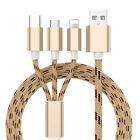 1/2/3/4 Pack Fast USB Charging Cable Universal 3 in 1 Multi Braided Charger Cord
