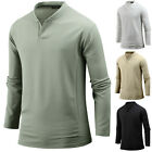 Mens Stylish Over Fit Henley V Neck Long Sleeve Tee T-shirt Tops Blouse W09 S-XL