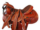 16 17 DEEP SEAT BARREL RACING WESTERN SADDLE PLEASURE TOOLED HORSE TACK PACKAGE