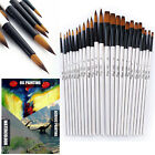 12 Artist Paint Brushes Set Acrylic Oil Watercolour Painting Craft Art Model Kit