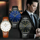 Men's Unisex Leather Band Analog Quartz Round Wrist Watch Business Watch image