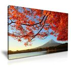Mount Fuji Red Trees Japan Nature Modern Canvas Wall Art Print ~ 5 Sizes