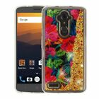 For ZTE Phone Bling Hybrid Liquid Glitter Rubber TPU Protective Case Cover