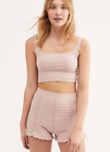NEW Free People Intimately Ruched Seamless Shorts Soft Pink XS/S  M/L 49.78