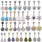 14G CZ Opal Navel Belly Button Ring Surgical Steel Barbell Body Piercing Jewelry image