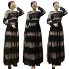 Elegant Women Lace Long Maxi Dress Muslim Swing Abaya Evening Party Cocktail New