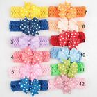Baby Girls Point Bowknot Hair Band Elastic Stretchy Kids Headband Hairband Gift