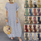 ZANZEA Women Short Sleeve Polka Dot Shirt Dress Long Maxi Dress Sundress Plus