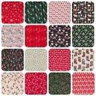 100% Cotton Christmas Fabric STAR REINDEER XMAS TREE RED GREEN GOLD Material