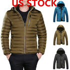 US Mens Winter Warm Quilted Cotton Jacket Coat Padded Hooded Ski Parka Outwear
