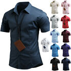 Mens Dandy Short Sleeve Spandex Business Formal Casual Dress Shirts Top W06 XS-M