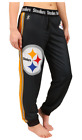 KLEW NFL Women's Pittsburgh Steelers Cuffed Jogger Pants, Black