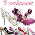 HOT-Glitter Gorgeous Wedding Bridal Evening Party Crystal High Heels Women Shoes
