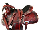 16 17 GAITED WESTERN HORSE TRAIL SADDLE FLORAL TOOLED COMFORTABLE LEATHER SADDLE