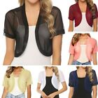 Womens Chiffon Sheer Shrug Bolero Short Sleeve Summer Cardigan Cropped Tops Tees