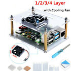 US 1-4 Layer Acrylic Case with Cooling Fan Heatsinks for Raspberry Pi 4B/3/2B/B