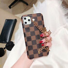 Luxury Leather Handstrap Stand Metal Chain Cover Case for iPhone XR XS MAX X 7 8