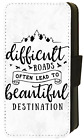INSPIRATIONAL QUOTES Pastel Grey Marble effect background Wallet Flip Phone Case