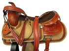 ROPING SADDLE WESTERN TRAIL HORSE PREMIUM TOOLED ROUGH OUT LEATHER 17 16 15 TACK