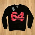 Men's DSQUARED2 Sweatshirt, 64 Print Pullover in Black & White, See Sizes
