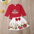 US Newborn Baby Girl Clothes Romper+Floral Dress Skirt My 1st Christmas Outfits