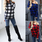 Women Off Shoulder Plaid Pullover Long Sleeve Shirts Casual Autumn Winter Tops